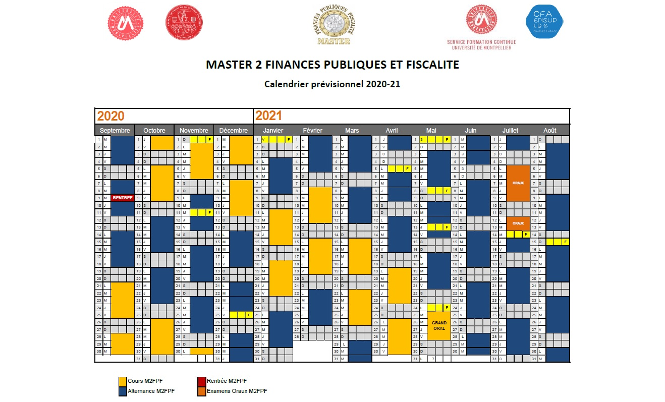 Calendrier Fiscal Entreprise 2021 Programme – Master Finances publiques